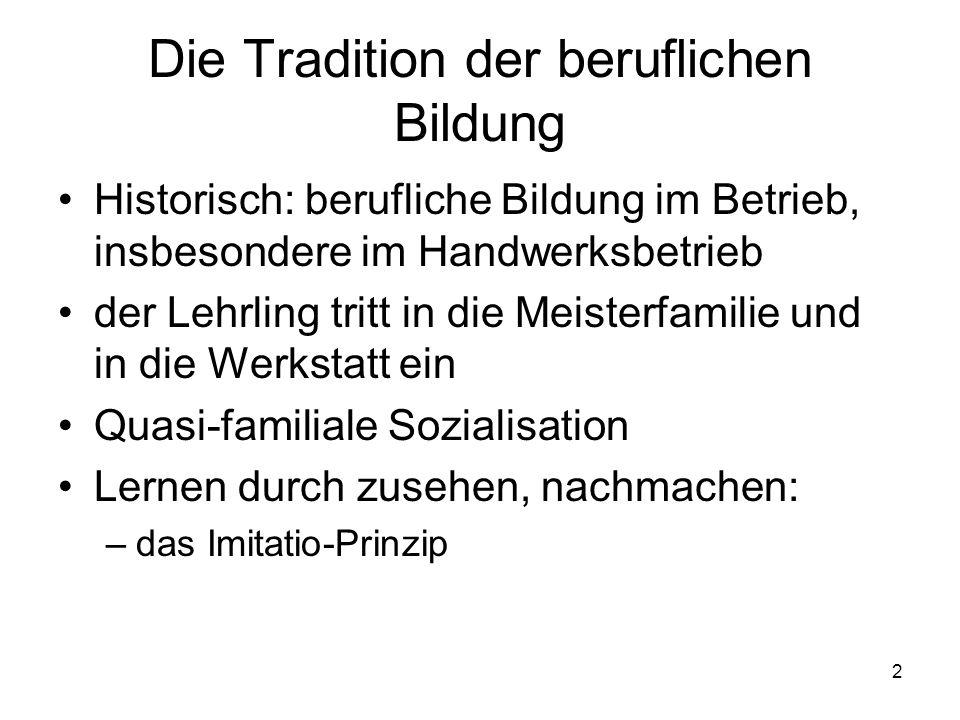 2 Die Tradition der beruflichen Bildung Historisch: berufliche Bildung im Betrieb, insbesondere im Handwerksbetrieb der Lehrling tritt in die Meisterf