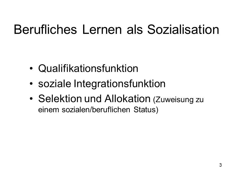 3 Berufliches Lernen als Sozialisation Qualifikationsfunktion soziale Integrationsfunktion Selektion und Allokation (Zuweisung zu einem sozialen/beruflichen Status)