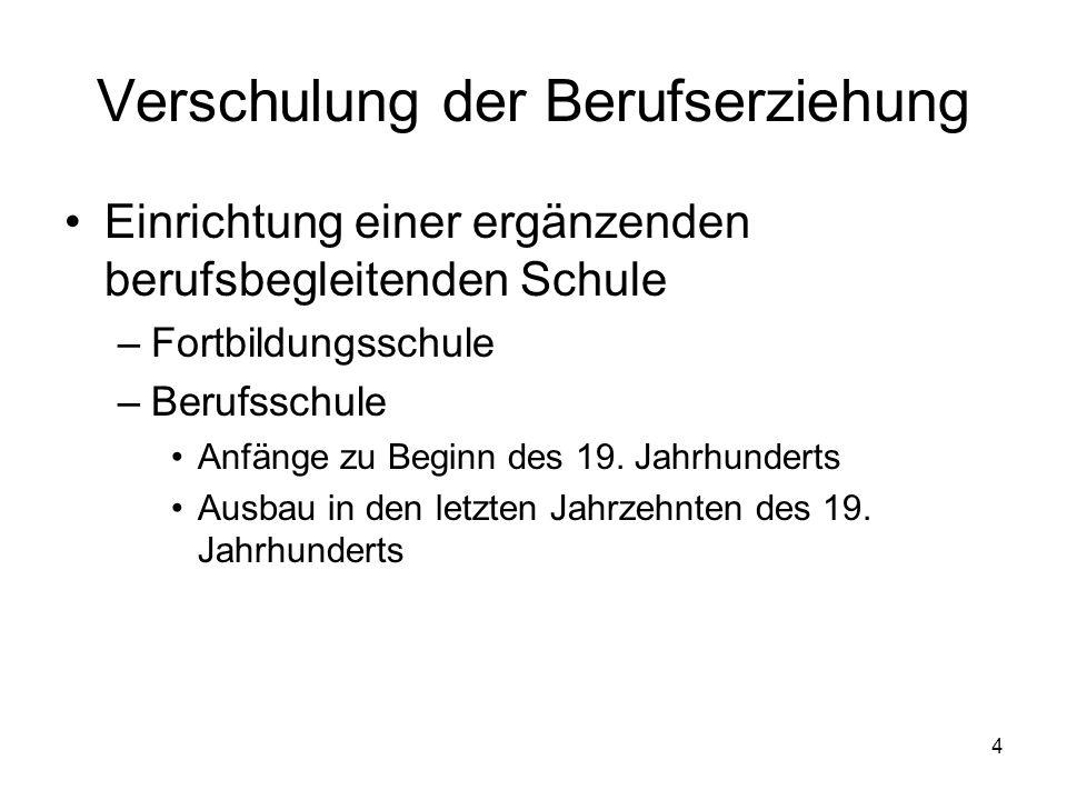 4 Verschulung der Berufserziehung Einrichtung einer ergänzenden berufsbegleitenden Schule –Fortbildungsschule –Berufsschule Anfänge zu Beginn des 19.