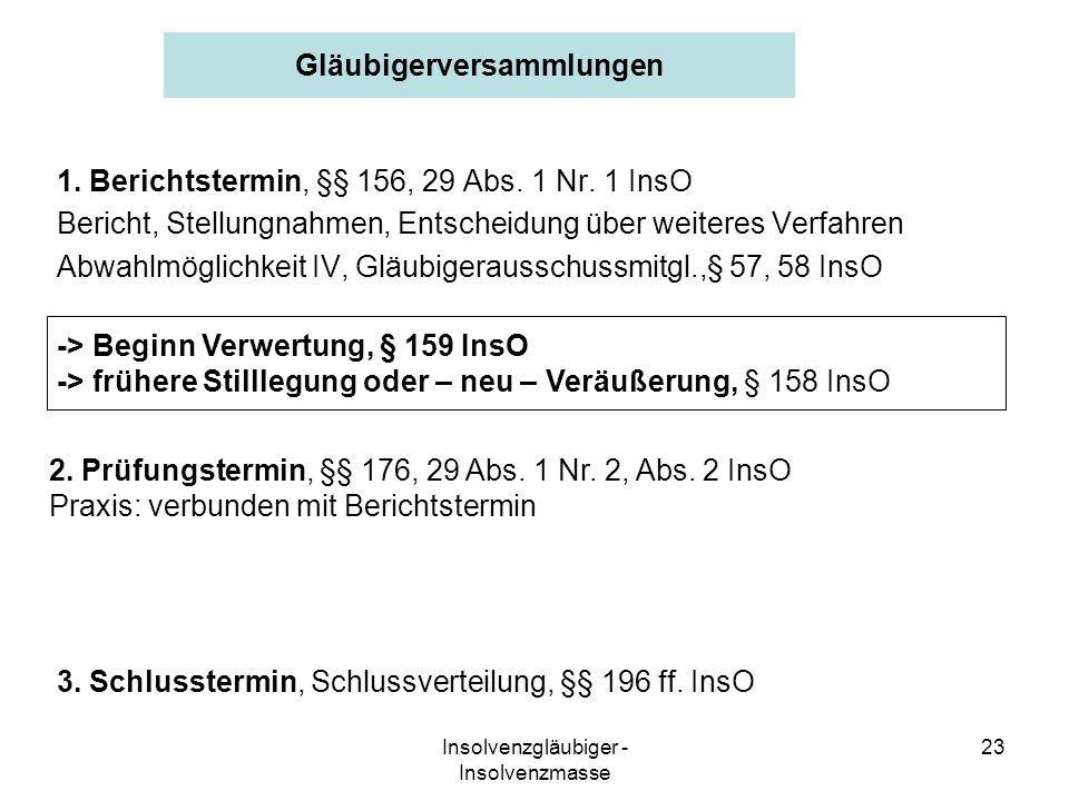 Insolvenzgläubiger - Insolvenzmasse 23 Gläubigerversammlungen 1. Berichtstermin, §§ 156, 29 Abs. 1 Nr. 1 InsO Bericht, Stellungnahmen, Entscheidung üb