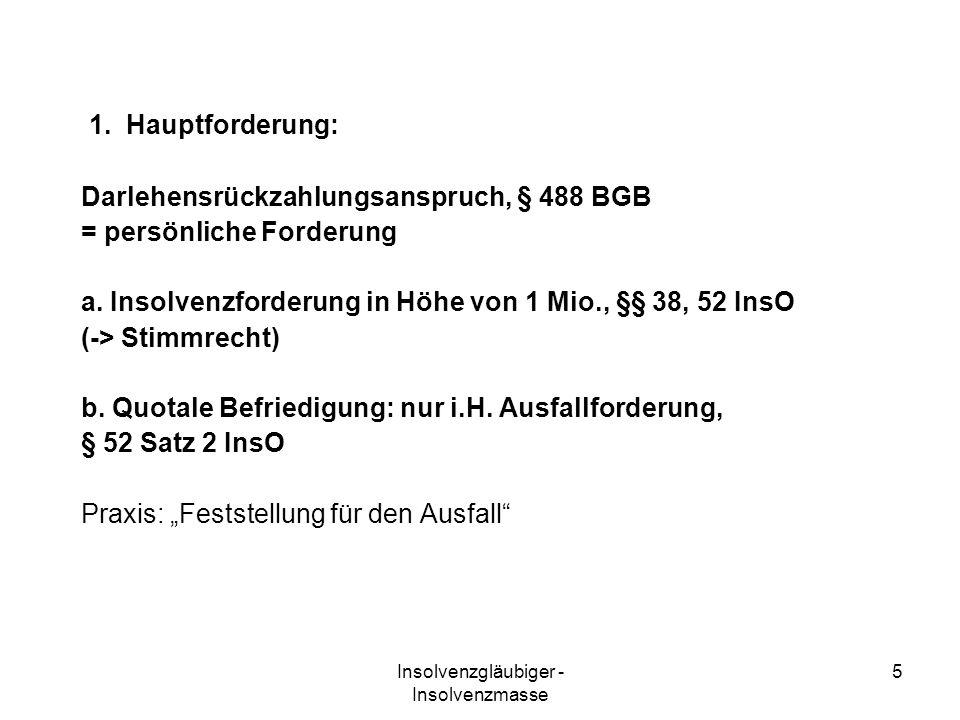 Insolvenzgläubiger - Insolvenzmasse 16 selbstständige Tätigkeit in der Insolvenz 1.