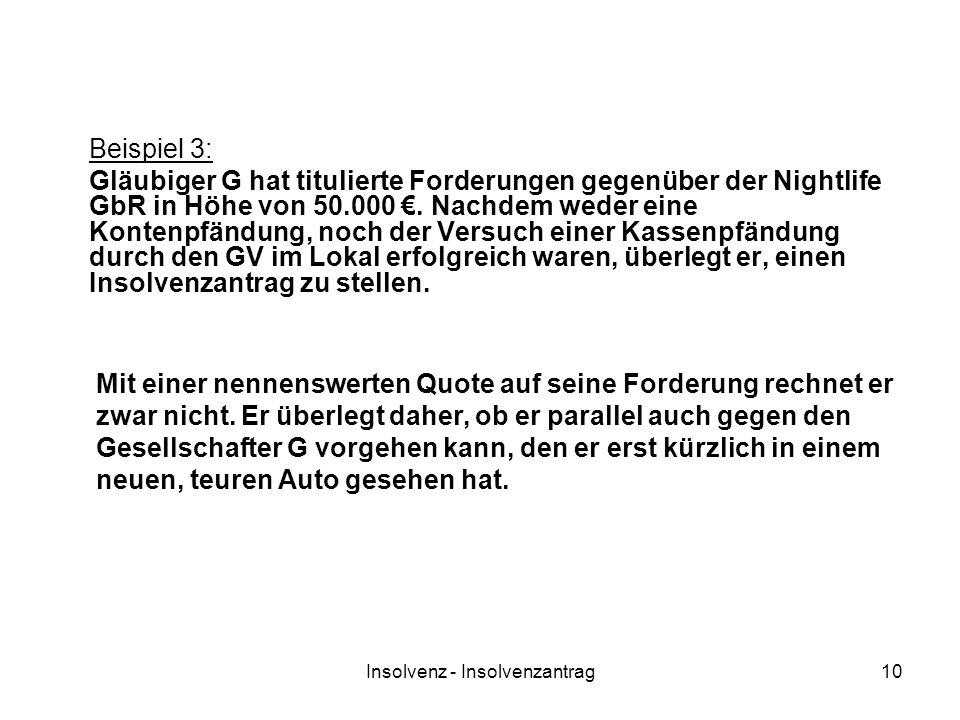 Insolvenz - Insolvenzantrag10 Beispiel 3: Gläubiger G hat titulierte Forderungen gegenüber der Nightlife GbR in Höhe von 50.000. Nachdem weder eine Ko