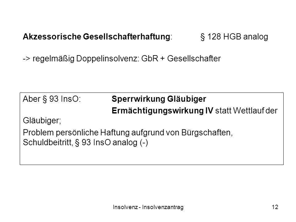 Insolvenz - Insolvenzantrag12 Akzessorische Gesellschafterhaftung:§ 128 HGB analog Aber § 93 InsO:Sperrwirkung Gläubiger Ermächtigungswirkung IV statt
