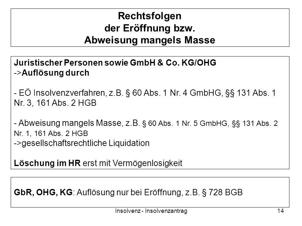Insolvenz - Insolvenzantrag14 Rechtsfolgen der Eröffnung bzw. Abweisung mangels Masse Juristischer Personen sowie GmbH & Co. KG/OHG ->Auflösung durch