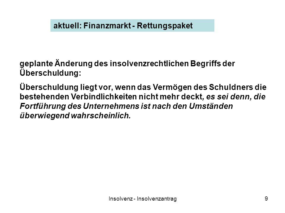 Insolvenz - Insolvenzantrag9 aktuell: Finanzmarkt - Rettungspaket geplante Änderung des insolvenzrechtlichen Begriffs der Überschuldung: Überschuldung