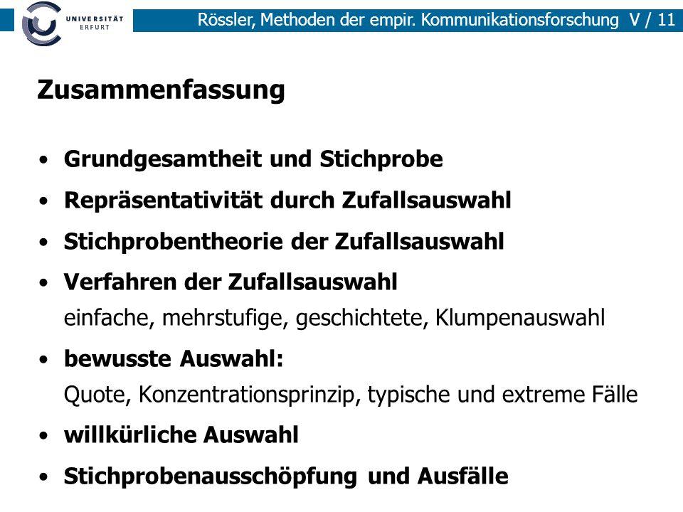Rössler, Methoden der empir. Kommunikationsforschung V / 11 Zusammenfassung Grundgesamtheit und Stichprobe Repräsentativität durch Zufallsauswahl Stic