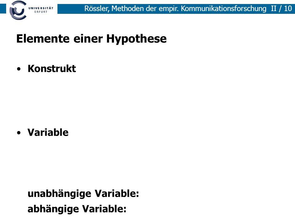 Methoden der empirischen Sozialforschung I / 10 Rössler, Methoden der empir. Kommunikationsforschung II / 10 Elemente einer Hypothese Konstrukt Variab