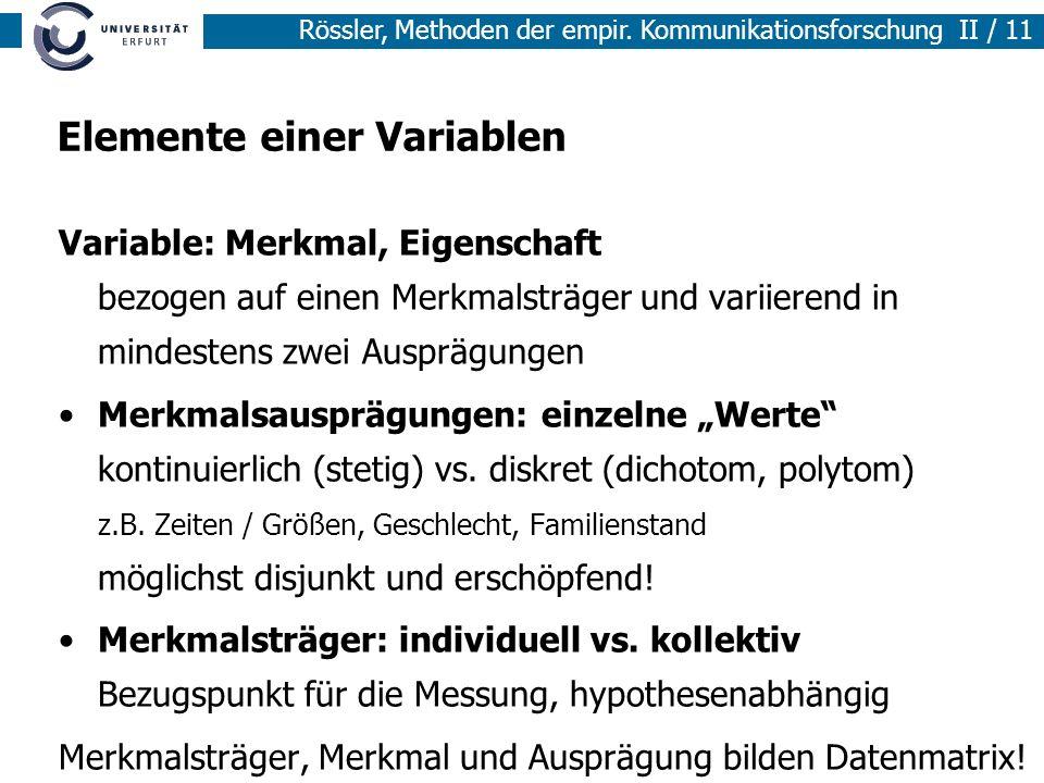 Methoden der empirischen Sozialforschung I / 11 Rössler, Methoden der empir. Kommunikationsforschung II / 11 Elemente einer Variablen Variable: Merkma