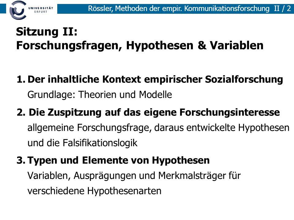 Methoden der empirischen Sozialforschung I / 2 Rössler, Methoden der empir. Kommunikationsforschung II / 2 Sitzung II: Forschungsfragen, Hypothesen &