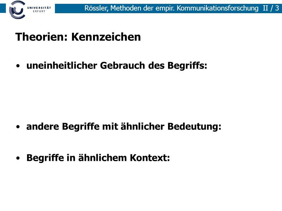 Methoden der empirischen Sozialforschung I / 3 Rössler, Methoden der empir. Kommunikationsforschung II / 3 Theorien: Kennzeichen uneinheitlicher Gebra