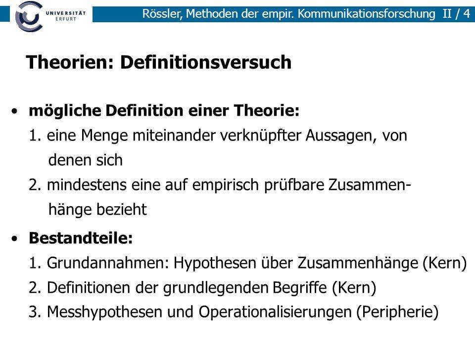 Methoden der empirischen Sozialforschung I / 4 Rössler, Methoden der empir. Kommunikationsforschung II / 4 Theorien: Definitionsversuch mögliche Defin