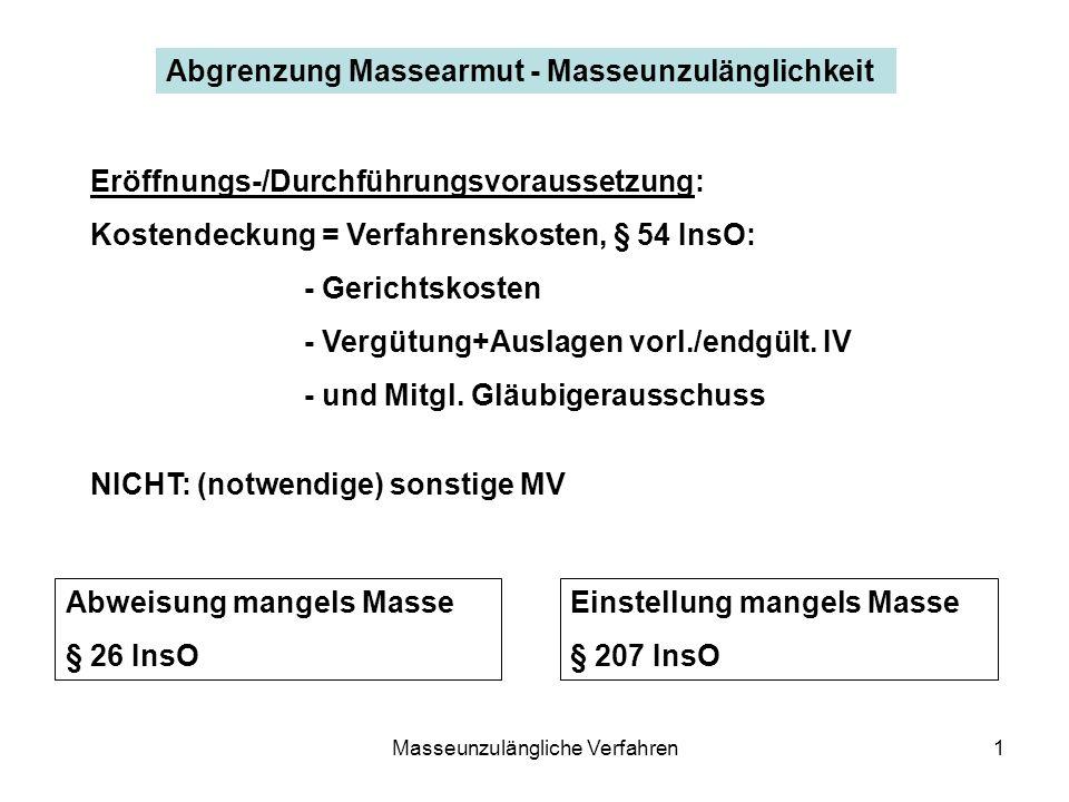 Masseunzulängliche Verfahren1 Abgrenzung Massearmut - Masseunzulänglichkeit Eröffnungs-/Durchführungsvoraussetzung: Kostendeckung = Verfahrenskosten,