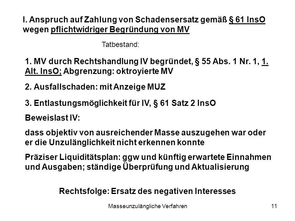 Masseunzulängliche Verfahren11 I. Anspruch auf Zahlung von Schadensersatz gemäß § 61 InsO wegen pflichtwidriger Begründung von MV 1. MV durch Rechtsha