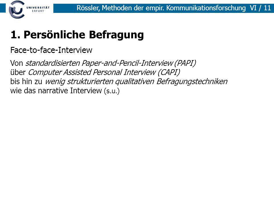 Rössler, Methoden der empir. Kommunikationsforschung VI / 11 1. Persönliche Befragung Face-to-face-Interview Von standardisierten Paper-and-Pencil-Int
