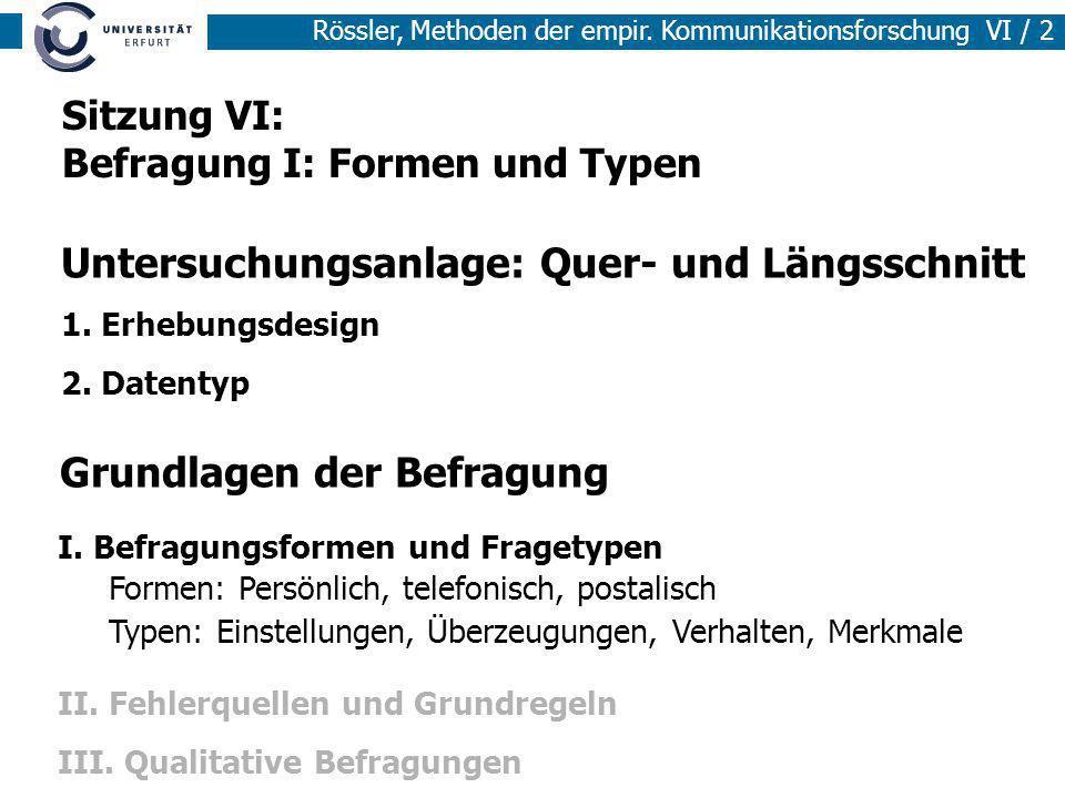 Rössler, Methoden der empir. Kommunikationsforschung VI / 2 Grundlagen der Befragung I. Befragungsformen und Fragetypen II. Fehlerquellen und Grundreg