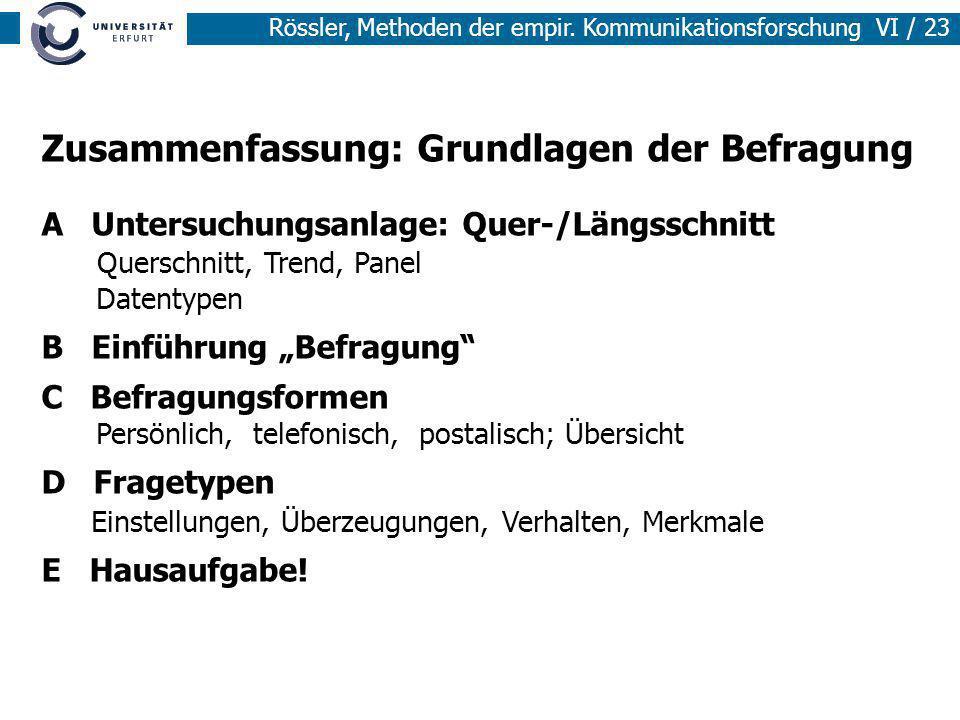 Rössler, Methoden der empir. Kommunikationsforschung VI / 23 Zusammenfassung: Grundlagen der Befragung A Untersuchungsanlage: Quer-/Längsschnitt Quers