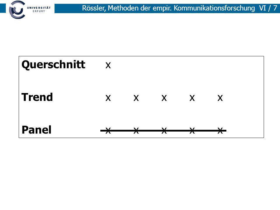Rössler, Methoden der empir. Kommunikationsforschung VI / 7 Querschnitt x Trendxxxxx Panelxxxxx