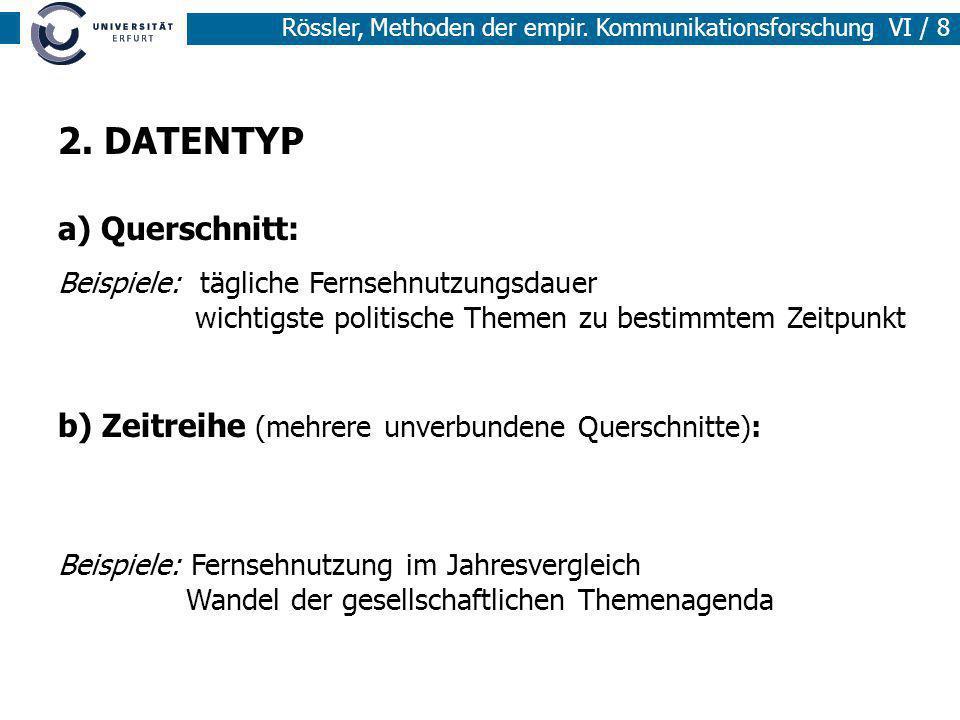Rössler, Methoden der empir. Kommunikationsforschung VI / 8 2. DATENTYP a) Querschnitt: Beispiele: tägliche Fernsehnutzungsdauer wichtigste politische