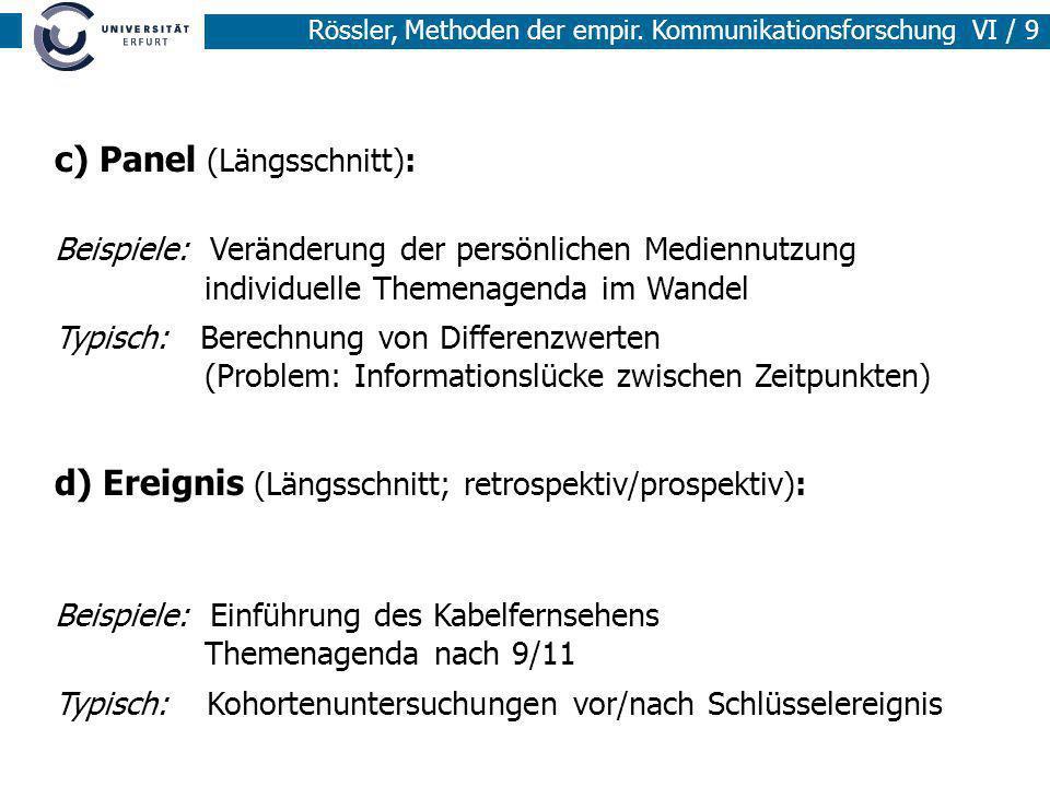 Rössler, Methoden der empir. Kommunikationsforschung VI / 9 c) Panel (Längsschnitt): Beispiele: Veränderung der persönlichen Mediennutzung individuell