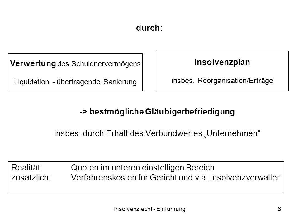 Insolvenzrecht - Einführung8 durch: -> bestmögliche Gläubigerbefriedigung insbes.