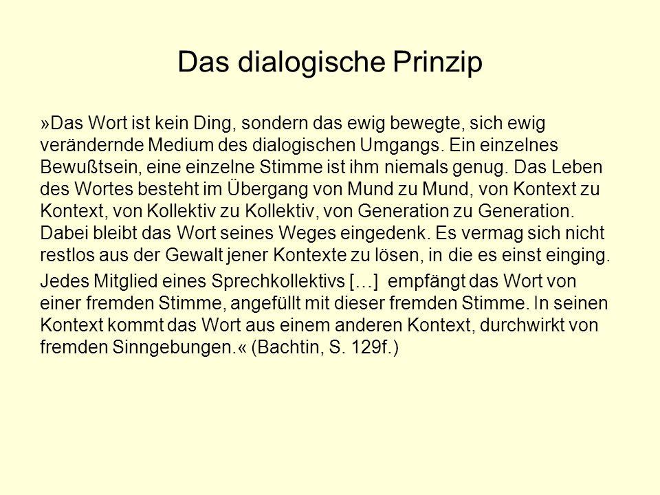 Das dialogische Prinzip »Das Wort ist kein Ding, sondern das ewig bewegte, sich ewig verändernde Medium des dialogischen Umgangs. Ein einzelnes Bewußt