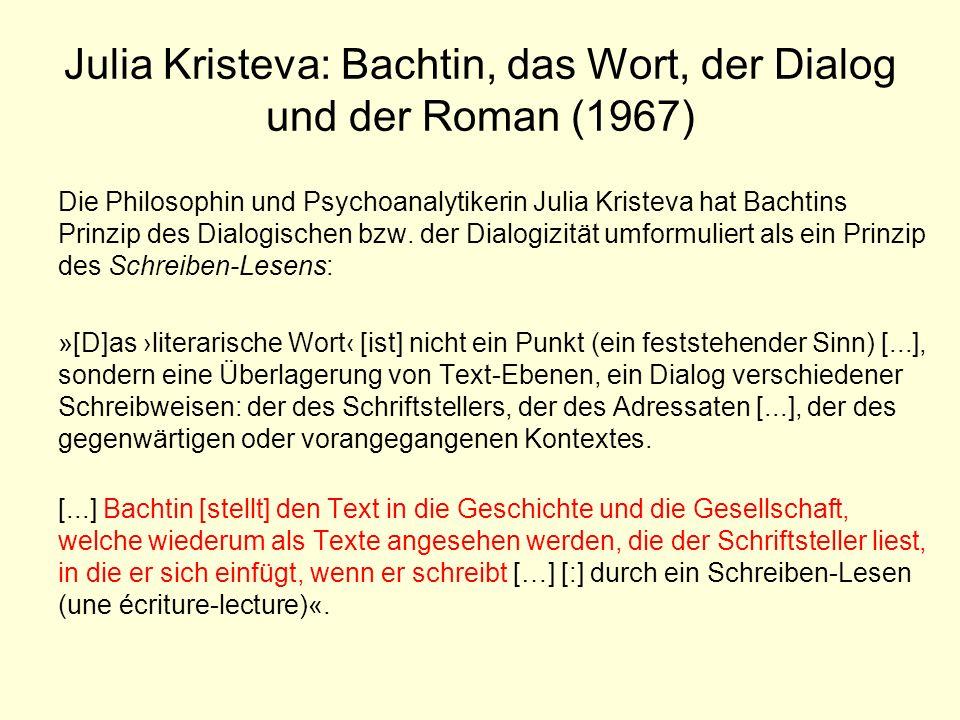 Julia Kristeva: Bachtin, das Wort, der Dialog und der Roman (1967) Die Philosophin und Psychoanalytikerin Julia Kristeva hat Bachtins Prinzip des Dial
