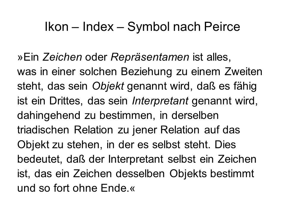 Ikon – Index – Symbol nach Peirce »Ein Zeichen oder Repräsentamen ist alles, was in einer solchen Beziehung zu einem Zweiten steht, das sein Objekt ge