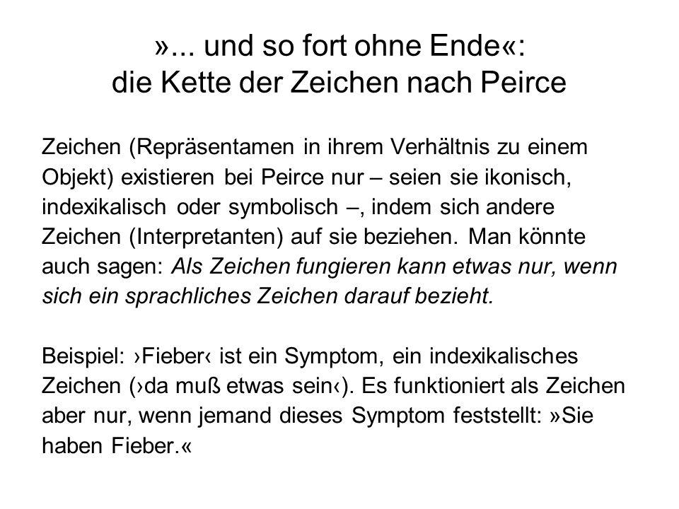 »... und so fort ohne Ende«: die Kette der Zeichen nach Peirce Zeichen (Repräsentamen in ihrem Verhältnis zu einem Objekt) existieren bei Peirce nur –