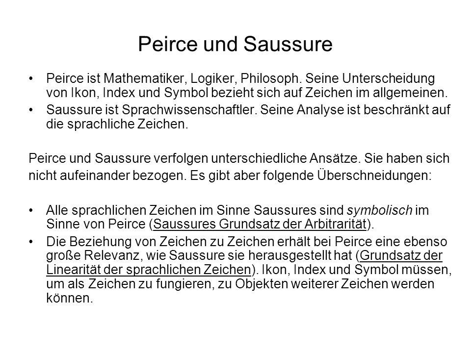 Peirce und Saussure Peirce ist Mathematiker, Logiker, Philosoph. Seine Unterscheidung von Ikon, Index und Symbol bezieht sich auf Zeichen im allgemein