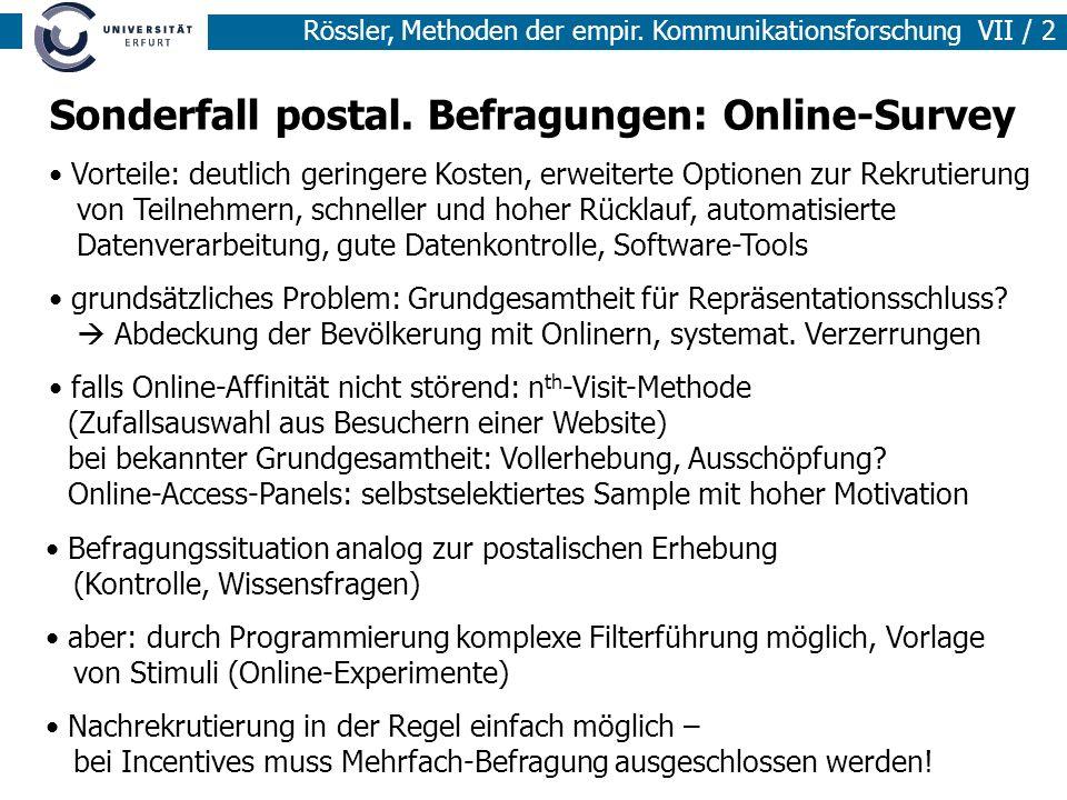 Rössler, Methoden der empir.Kommunikationsforschung VII / 3 4.
