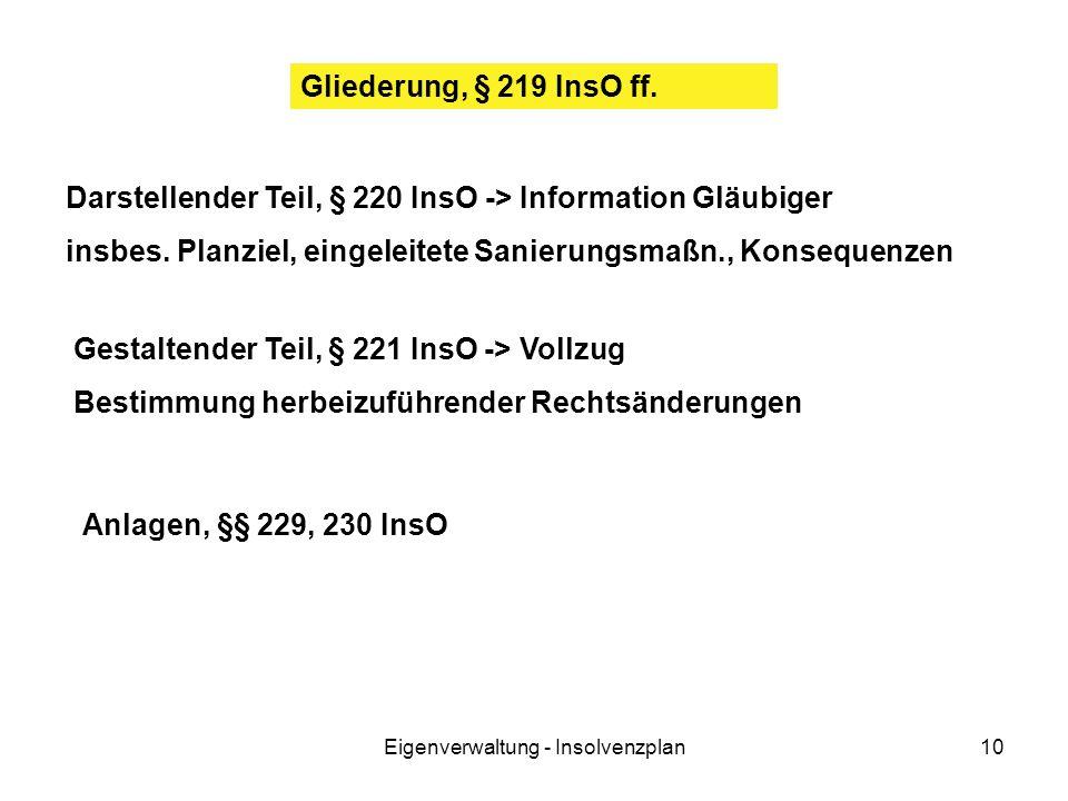 Eigenverwaltung - Insolvenzplan10 Gliederung, § 219 InsO ff. Darstellender Teil, § 220 InsO -> Information Gläubiger insbes. Planziel, eingeleitete Sa