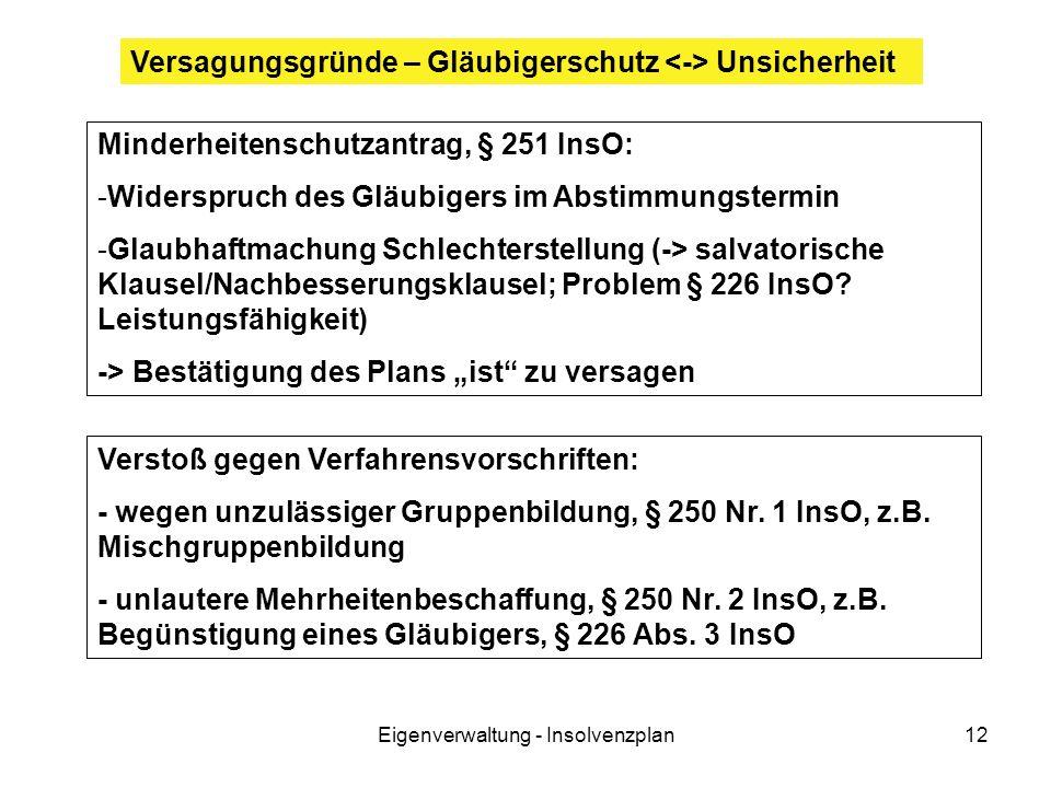 Eigenverwaltung - Insolvenzplan12 Minderheitenschutzantrag, § 251 InsO: -Widerspruch des Gläubigers im Abstimmungstermin -Glaubhaftmachung Schlechterstellung (-> salvatorische Klausel/Nachbesserungsklausel; Problem § 226 InsO.