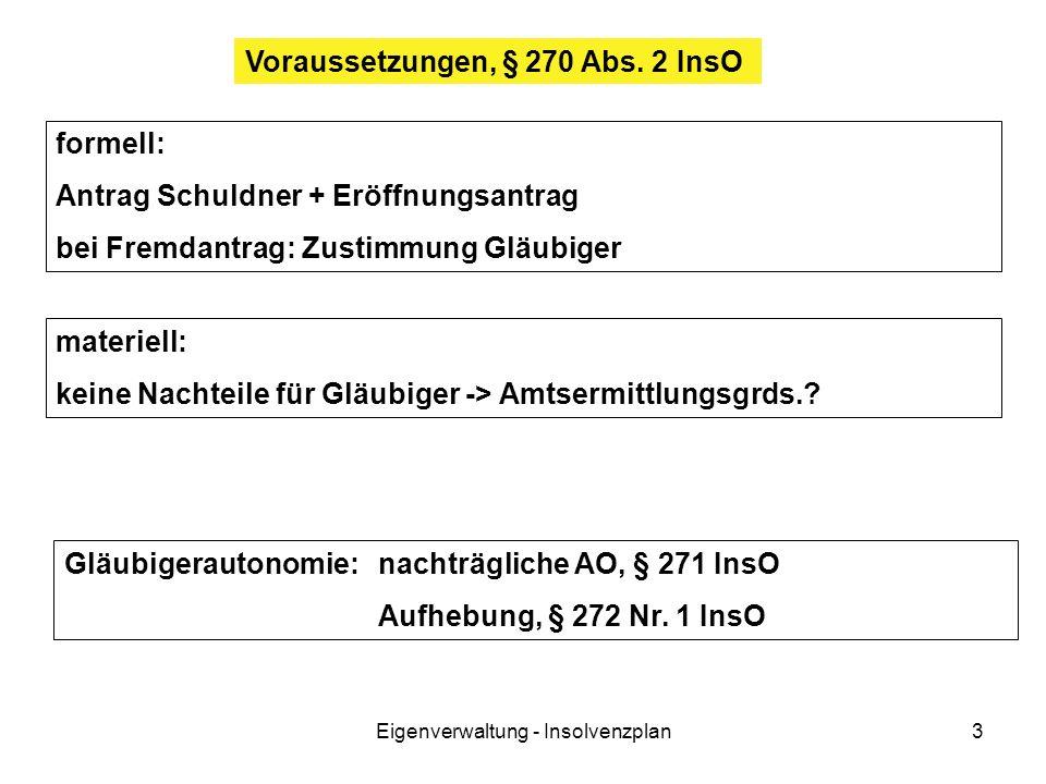 Eigenverwaltung - Insolvenzplan3 Voraussetzungen, § 270 Abs. 2 InsO formell: Antrag Schuldner + Eröffnungsantrag bei Fremdantrag: Zustimmung Gläubiger