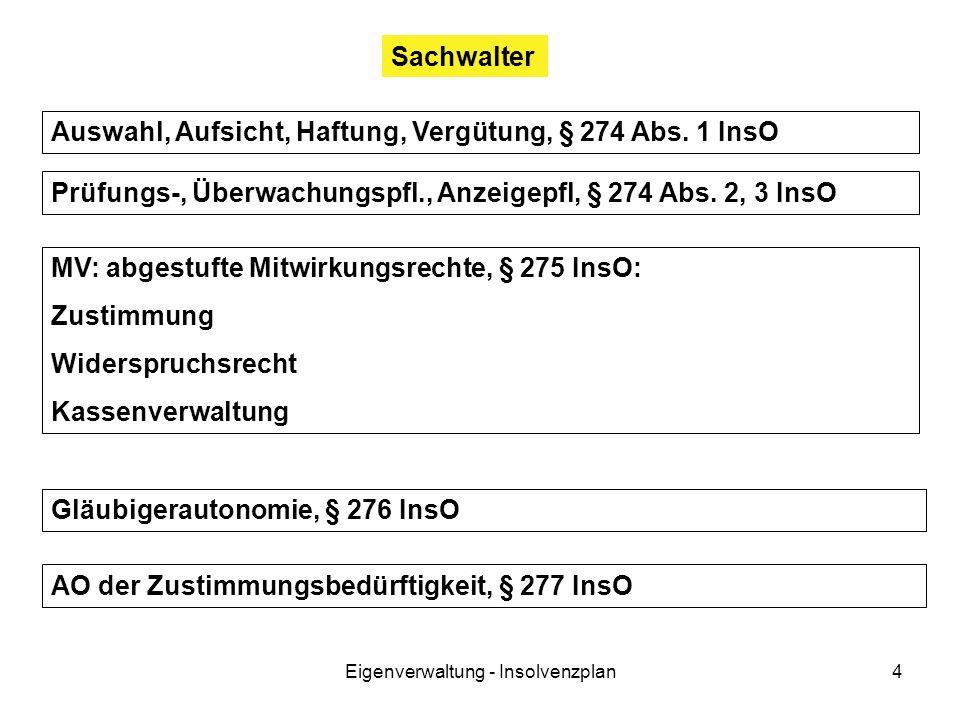 Eigenverwaltung - Insolvenzplan4 Sachwalter Auswahl, Aufsicht, Haftung, Vergütung, § 274 Abs.