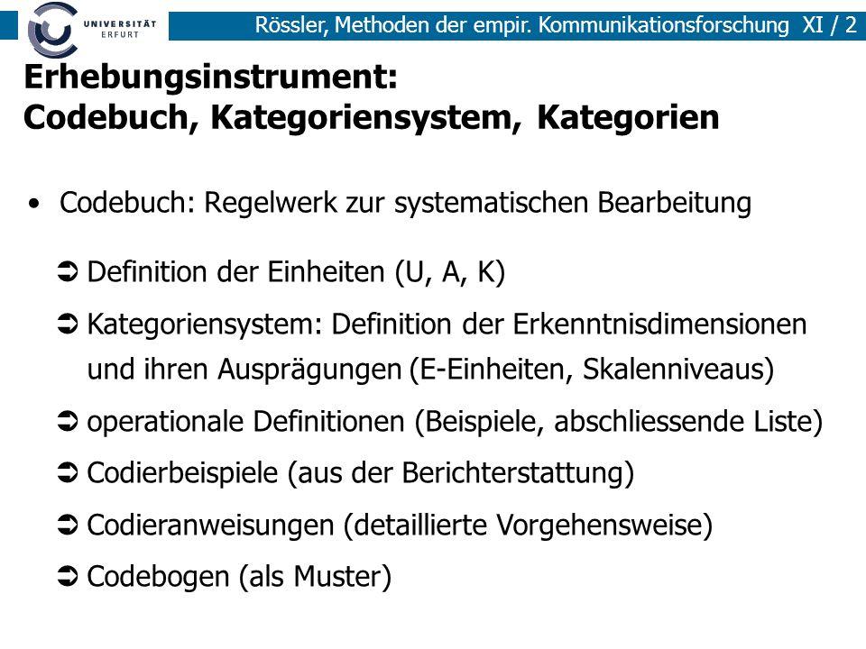 Rössler, Methoden der empir. Kommunikationsforschung XI / 2 Erhebungsinstrument: Codebuch, Kategoriensystem, Kategorien Codebuch: Regelwerk zur system