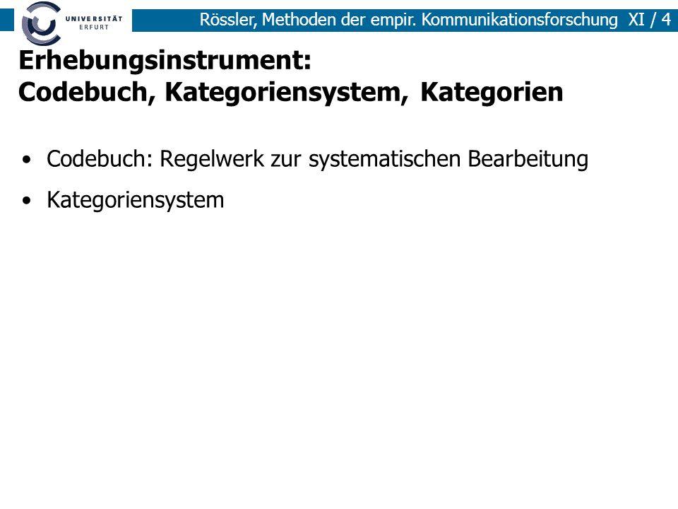 Rössler, Methoden der empir. Kommunikationsforschung XI / 4 Erhebungsinstrument: Codebuch, Kategoriensystem, Kategorien Codebuch: Regelwerk zur system