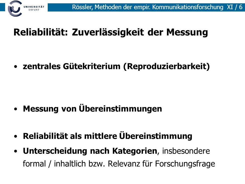 Rössler, Methoden der empir. Kommunikationsforschung XI / 6 Reliabilität: Zuverlässigkeit der Messung zentrales Gütekriterium (Reproduzierbarkeit) Mes