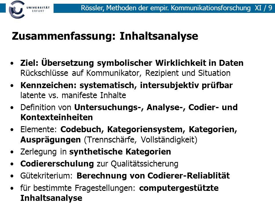 Rössler, Methoden der empir. Kommunikationsforschung XI / 9 Zusammenfassung: Inhaltsanalyse Ziel: Übersetzung symbolischer Wirklichkeit in Daten Rücks