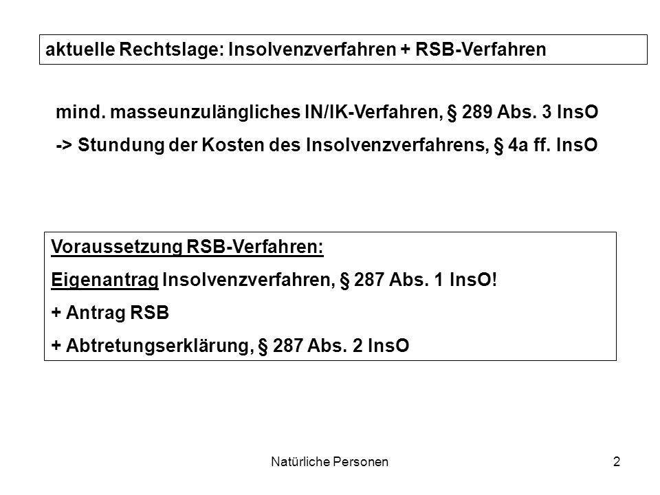 Natürliche Personen2 aktuelle Rechtslage: Insolvenzverfahren + RSB-Verfahren Voraussetzung RSB-Verfahren: Eigenantrag Insolvenzverfahren, § 287 Abs. 1