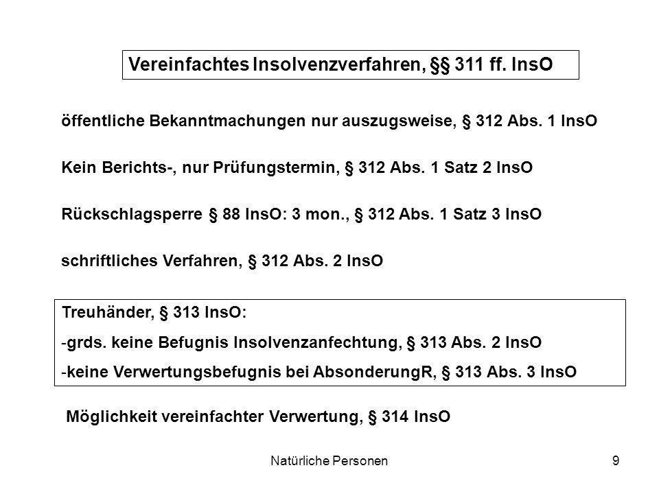 Natürliche Personen9 Vereinfachtes Insolvenzverfahren, §§ 311 ff. InsO Kein Berichts-, nur Prüfungstermin, § 312 Abs. 1 Satz 2 InsO Rückschlagsperre §