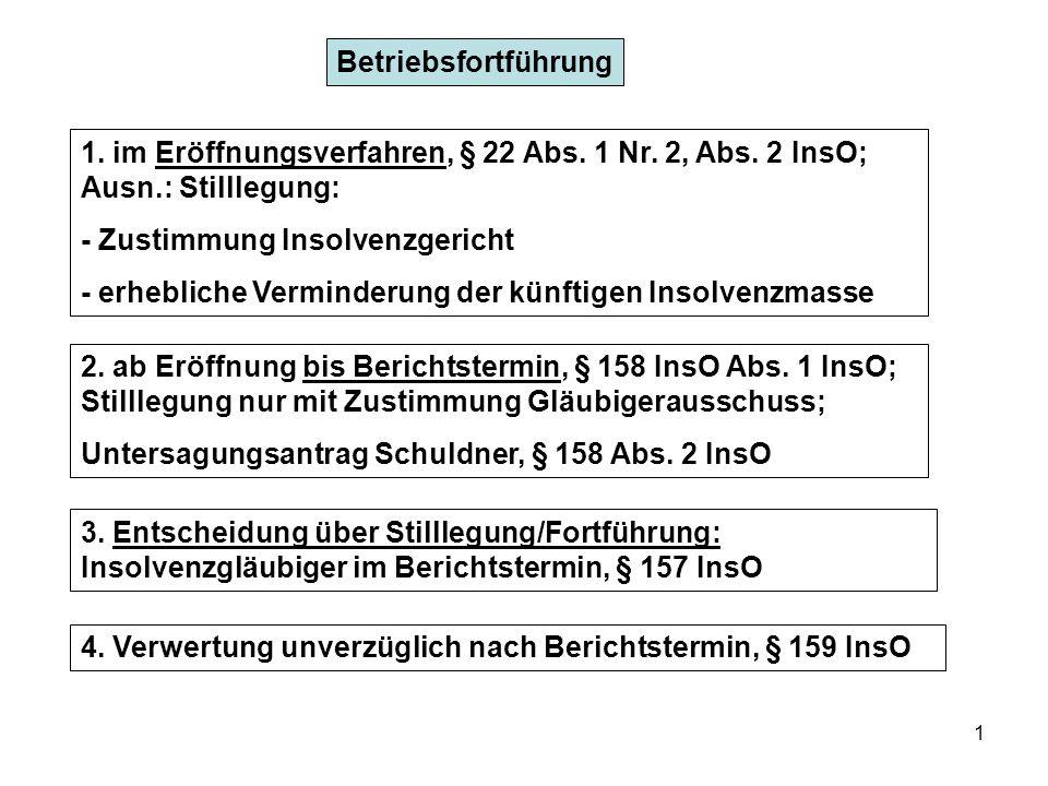 1 Betriebsfortführung 1. im Eröffnungsverfahren, § 22 Abs. 1 Nr. 2, Abs. 2 InsO; Ausn.: Stilllegung: - Zustimmung Insolvenzgericht - erhebliche Vermin