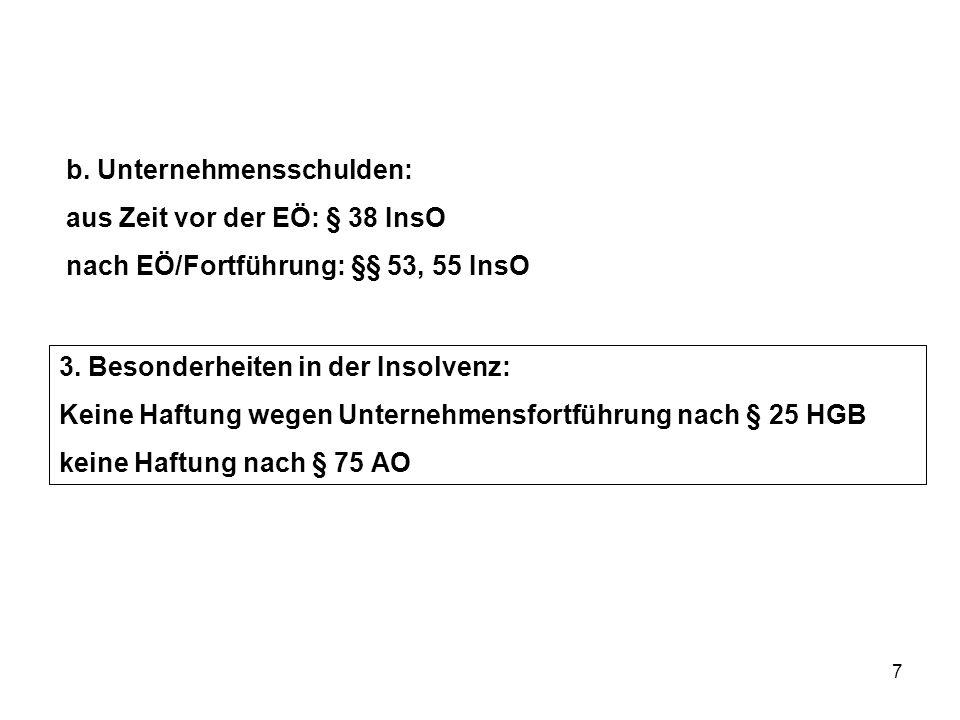 7 b. Unternehmensschulden: aus Zeit vor der EÖ: § 38 InsO nach EÖ/Fortführung: §§ 53, 55 InsO 3. Besonderheiten in der Insolvenz: Keine Haftung wegen