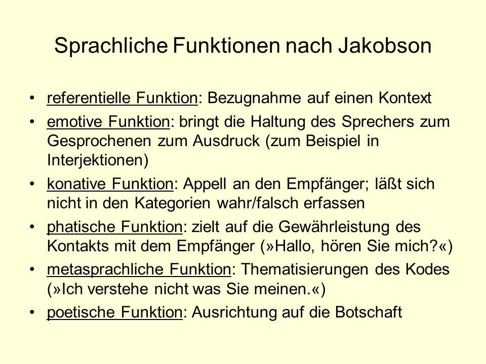 Sprachliche Funktionen nach Jakobson referentielle Funktion: Bezugnahme auf einen Kontext emotive Funktion: bringt die Haltung des Sprechers zum Gespr