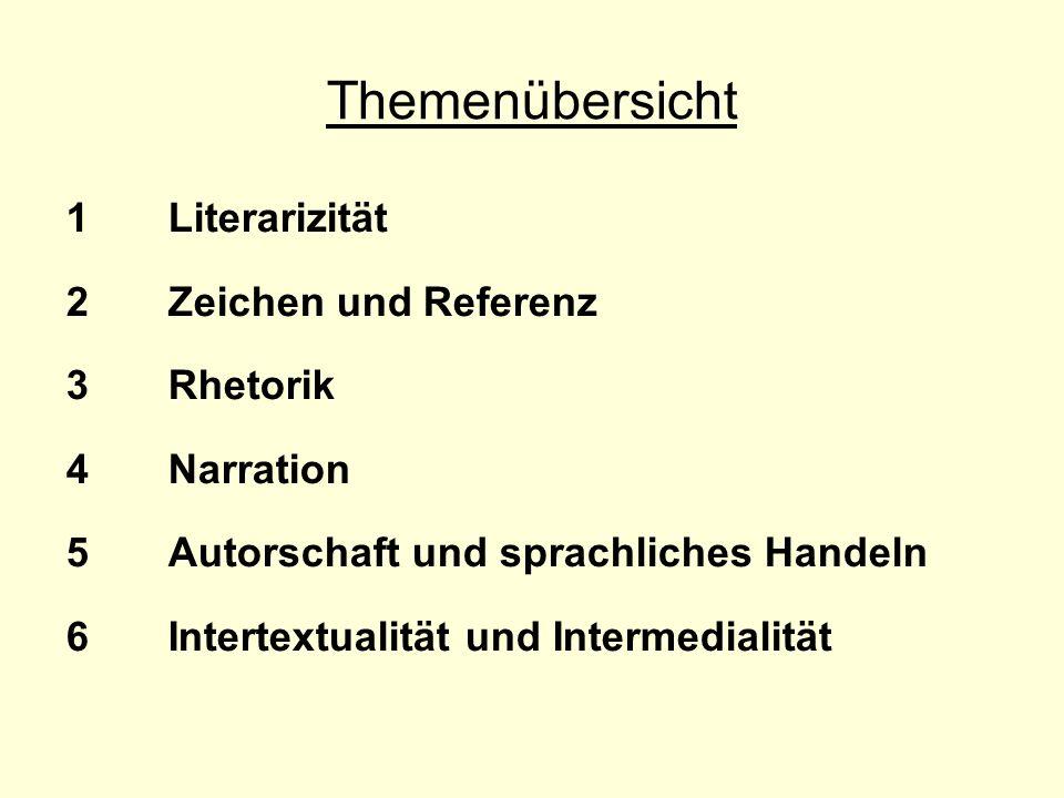 Themenübersicht 1Literarizität 2Zeichen und Referenz 3Rhetorik 4Narration 5Autorschaft und sprachliches Handeln 6Intertextualität und Intermedialität