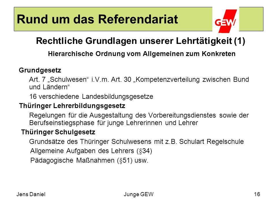 Jens DanielJunge GEW16 Rund um das Referendariat Rechtliche Grundlagen unserer Lehrtätigkeit (1) Hierarchische Ordnung vom Allgemeinen zum Konkreten G