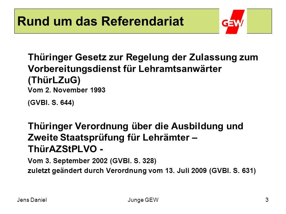 Jens DanielJunge GEW3 Rund um das Referendariat Thüringer Gesetz zur Regelung der Zulassung zum Vorbereitungsdienst für Lehramtsanwärter (ThürLZuG) Vo