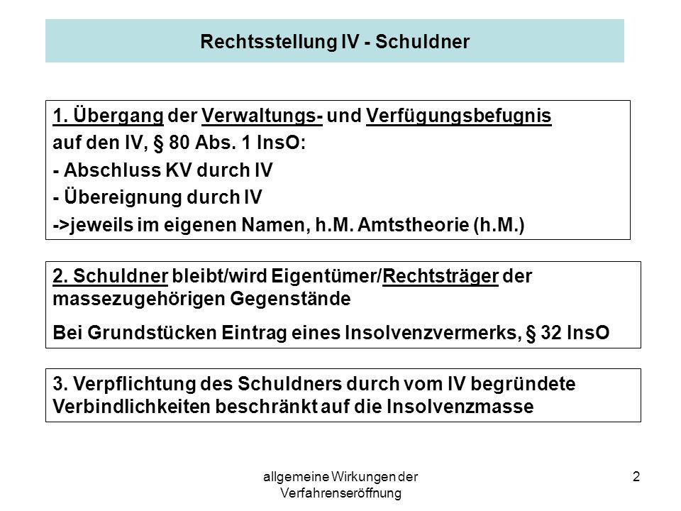 allgemeine Wirkungen der Verfahrenseröffnung 3 Beispiel 2 Insolvenzschuldner S hatte auch von seinem langjährigen Freund F in der Krise Geld geliehen.