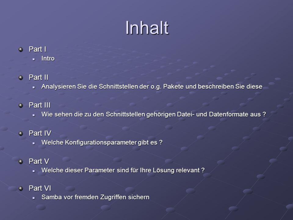 Inhalt Part I Intro Intro Part II Analysieren Sie die Schnittstellen der o.g. Pakete und beschreiben Sie diese Analysieren Sie die Schnittstellen der