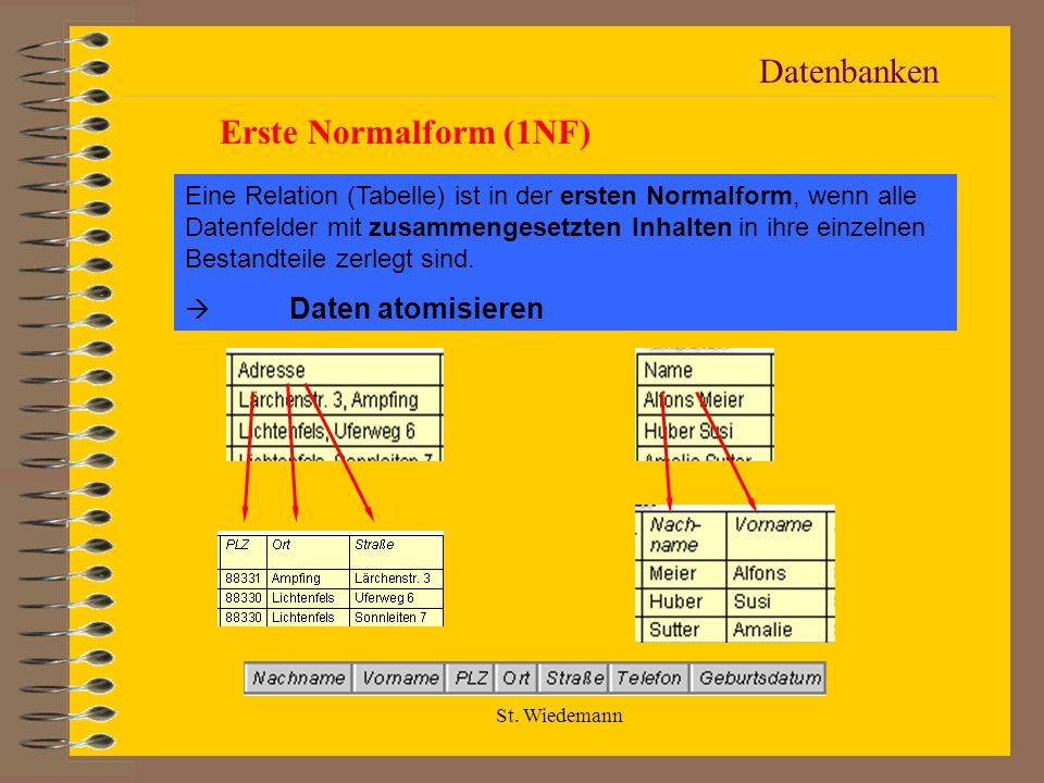 St. Wiedemann Datenbanken Erste Normalform (1NF) Eine Relation (Tabelle) ist in der ersten Normalform, wenn alle Datenfelder mit zusammengesetzten Inh