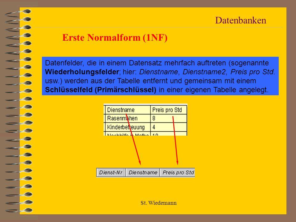 St. Wiedemann Datenbanken Erste Normalform (1NF) Datenfelder, die in einem Datensatz mehrfach auftreten (sogenannte Wiederholungsfelder; hier: Dienstn